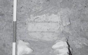 Detalle del muro ibérico de piedras y adobes. Sondeo 2 (AB)