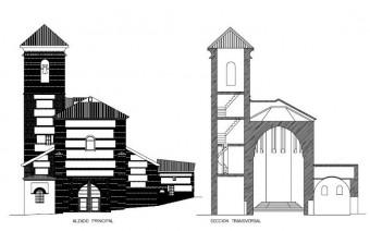 Alzado principal y sección transversal (PE)