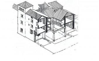 Vista isonométrica del palacio de los Mendoza