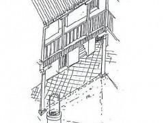 Alzado isonométrico del patio (PE)
