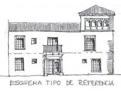 Alzado completo del palacio con las dos parcelas (PE)